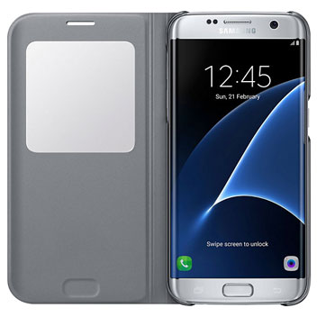 Official Samsung Galaxy S7 Edge S View Cover Case - Silver