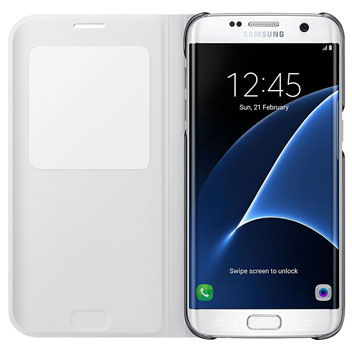 s view cover officielle samsung galaxy s7 edge blanche. Black Bedroom Furniture Sets. Home Design Ideas