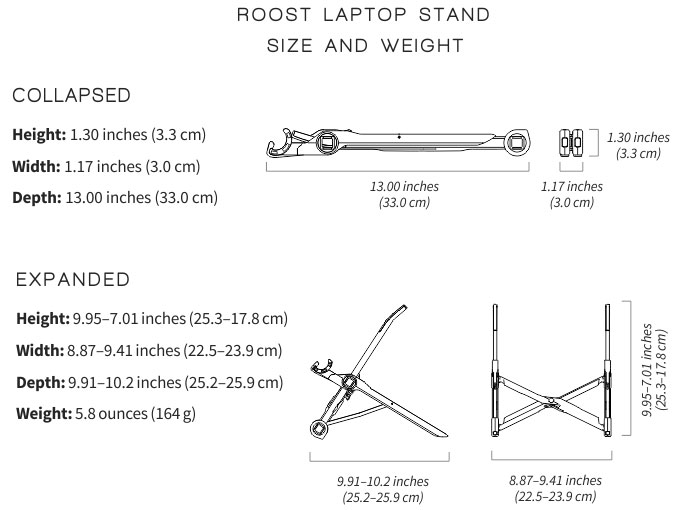 Roost Universal Height-Adjustable Foldable Laptop Stand