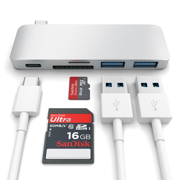 Satechi USB-C Adapter & Hub with USB Charging Ports - Silver