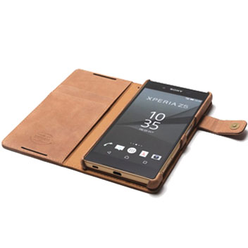 Zenus Vintage Diary Sony Xperia Z5 Wallet Case - Vintage Brown
