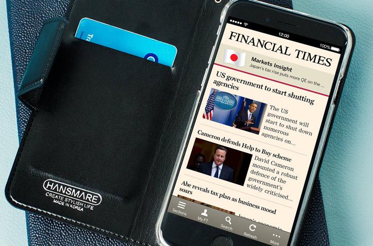 Hansmare Leather-Style Super Slim iPhone 6S / 6 Wallet Case - Black