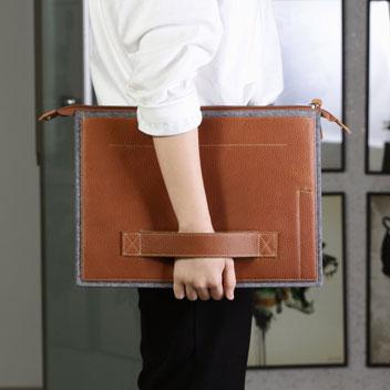 Patchworks Leather & Felt  iPad Pro Sleeve - Brown