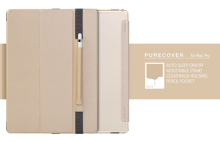 Patchworks PureCover iPad Pro Case with Apple Pencil Holder - Champagne Gold
