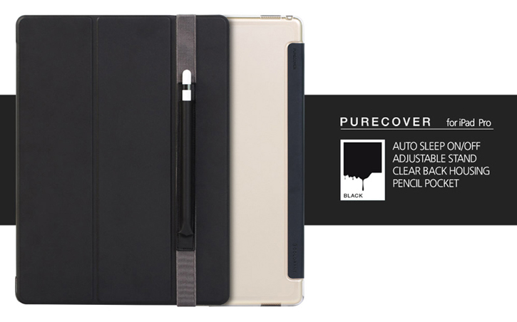 Patchworks PureCover iPad Pro Case with Apple Pencil Holder - Black
