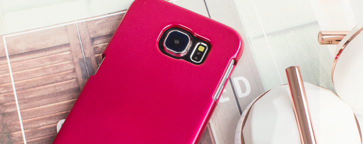 Mercury Metallic Silicone Finish Hard case Samsung Galaxy S6 -Hot Pink