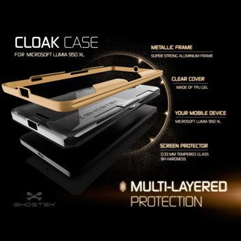 Ghostek Cloak Microsoft Lumia 950 XL Tough Case - Clear / Gold