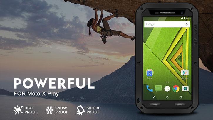 Love Mei Powerful Motorola Moto X Play Protective Case - Black