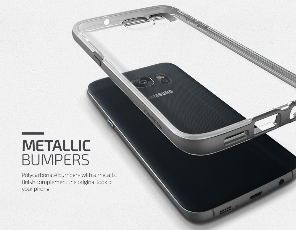 VRS Design Crystal Bumper Samsung Galaxy S7 Edge Case - Steel