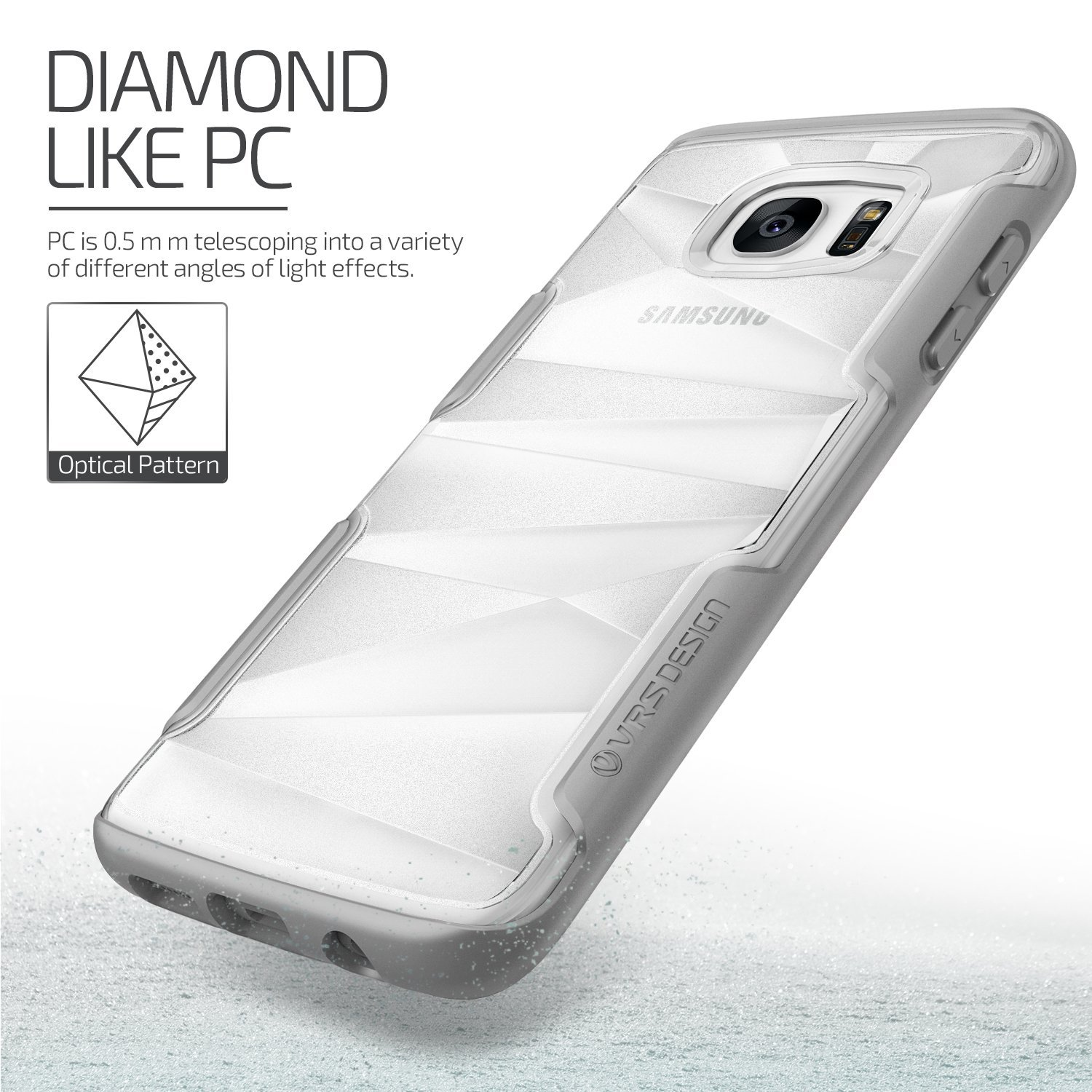 VRS Design Shine Guard Samsung Galaxy S7 Edge Case - Grey / Clear