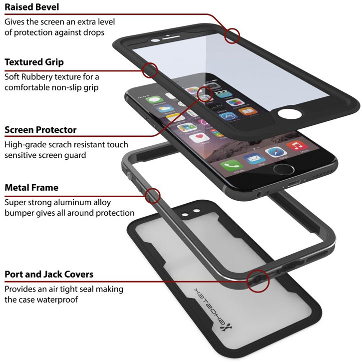 low priced 0eebf e73aa Ghostek Atomic 2.0 iPhone 6S / 6 Waterproof Tough Case - Space Grey