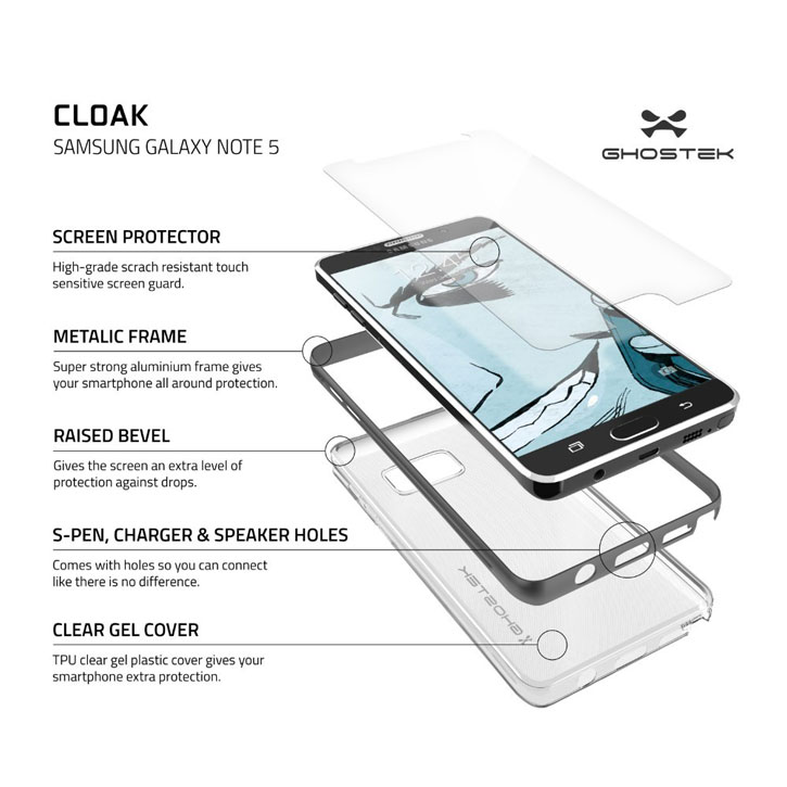 Ghostek Cloak Samsung Galaxy Note 5 Tough Case - Clear / Black
