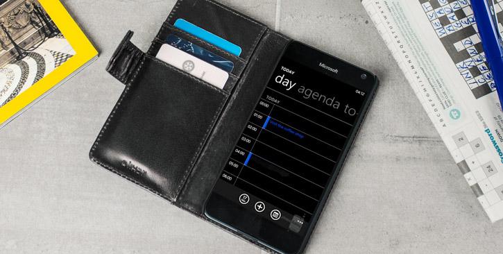 Olixar Genuine Leather Microsoft Lumia 650 Wallet Case - Black