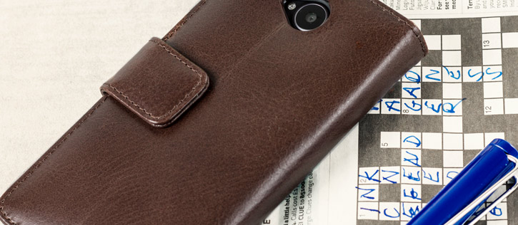 Olixar Genuine Leather Microsoft Lumia 650 Wallet Case - Brown