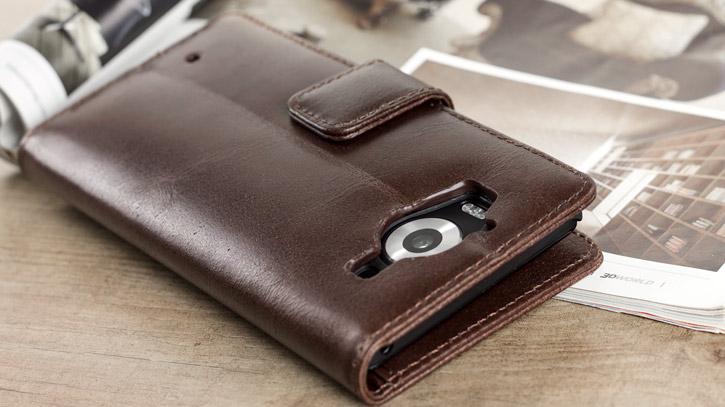 Olixar Genuine Leather Microsoft Lumia 950 Wallet Case - Brown