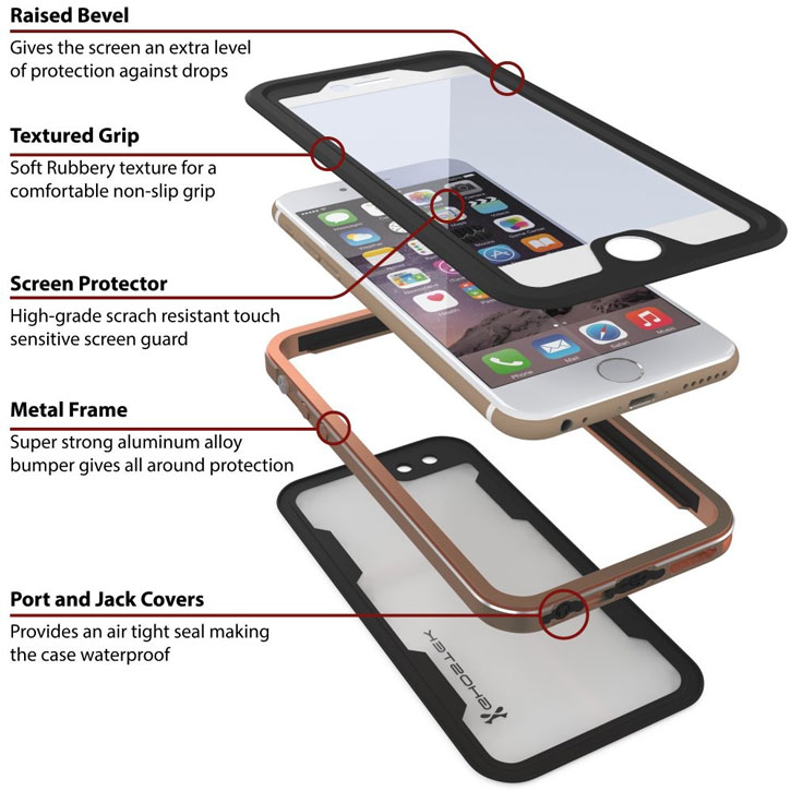 the latest a1ccc 73ebd Ghostek Atomic 2.0 iPhone 6S Plus / 6 Plus Waterproof Case - Gold
