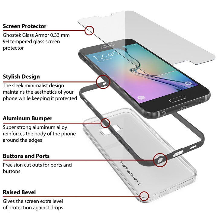 Ghostek Cloak Samsung Galaxy S6 Tough Case - Clear / Black