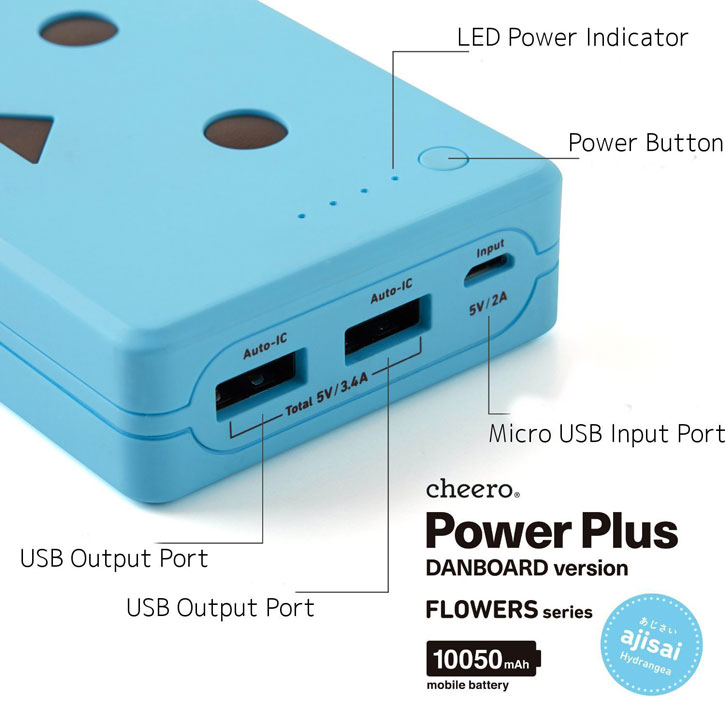Danbo Power Bank Portable Charger 10050mAh - Blue