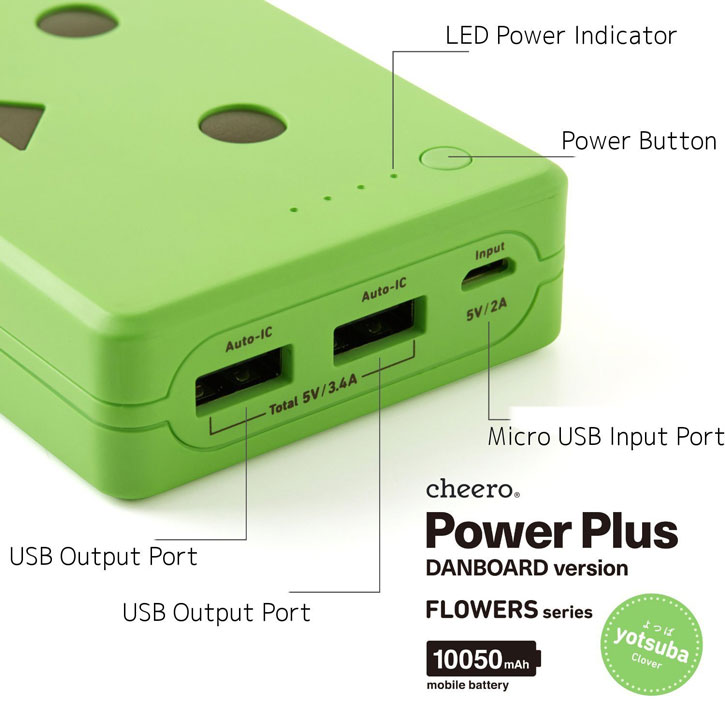 Danbo Power Bank Portable Charger 10050mAh - Green