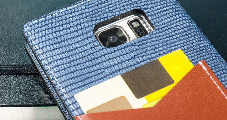 Moncabas Liza Genuine Leather Samsung Galaxy S7 Wallet Case - Navy