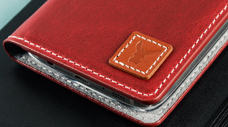 Moncabas Vintage Genuine Leather Samsung Galaxy S7 Wallet Case - Red