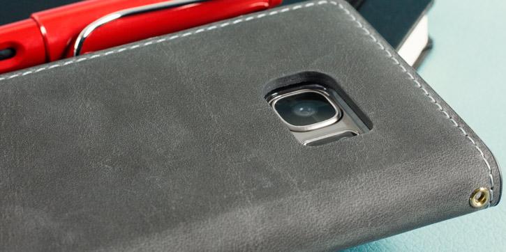 Moncabas Vintage Genuine Leather Samsung Galaxy S7 Wallet Case - Grey
