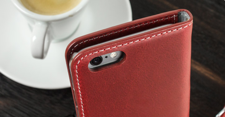 Moncabas Vintage Genuine Leather iPhone 6S / 6 Wallet Case - Red