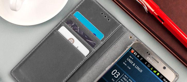Moncabas Vintage Leather Samsung Galaxy Note 5 Wallet Case - Grey