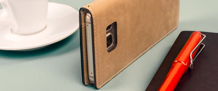 Moncabas Vintage Leather Samsung Galaxy Note 5 Wallet Case - Camel