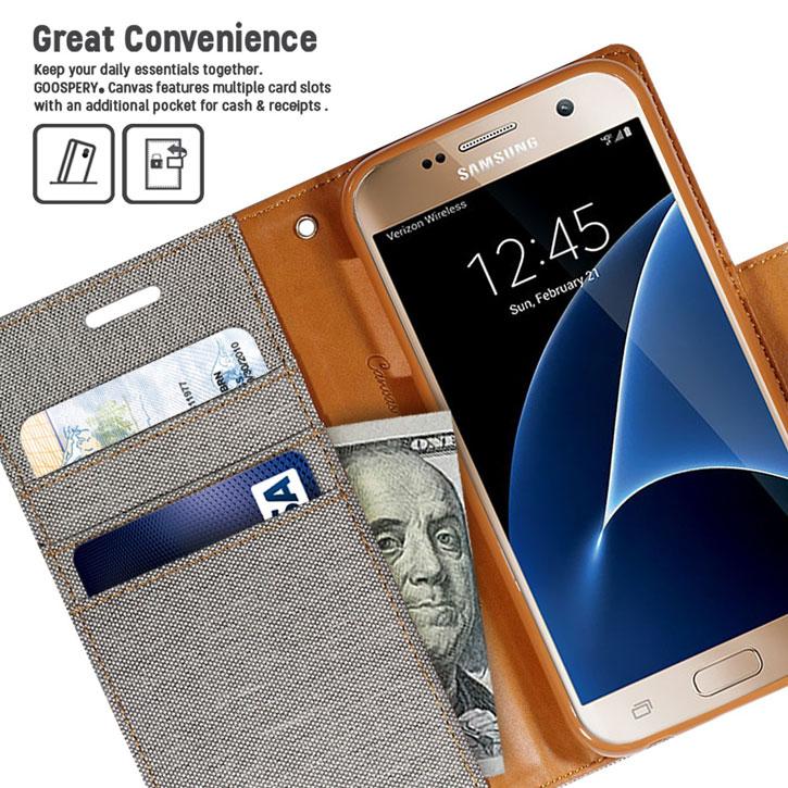 Mercury Canvas Diary Samsung Galaxy S7 Wallet Case - Grey / Camel