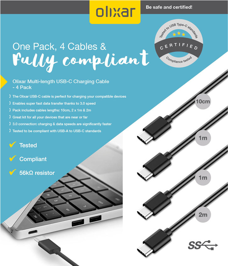 Olixar Multi-length USB-C Charging Cable - 4 Pack