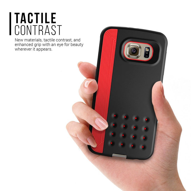 Caseology Threshold Series Samsung Galaxy S6 Slim Armour Case - Black / Red