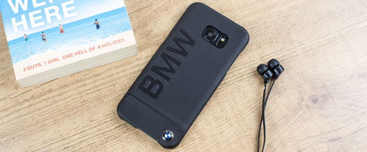 outlet store abf58 781f6 BMW Genuine Leather Samsung Galaxy S7 Edge Hard Case - Black