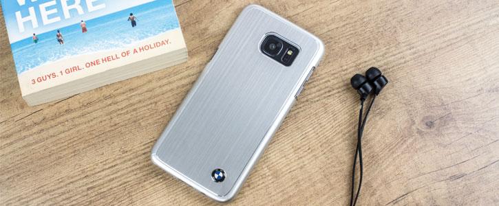 BMW Brushed Aluminium Finish Samsung Galaxy S7 Edge Hard Case - Silver