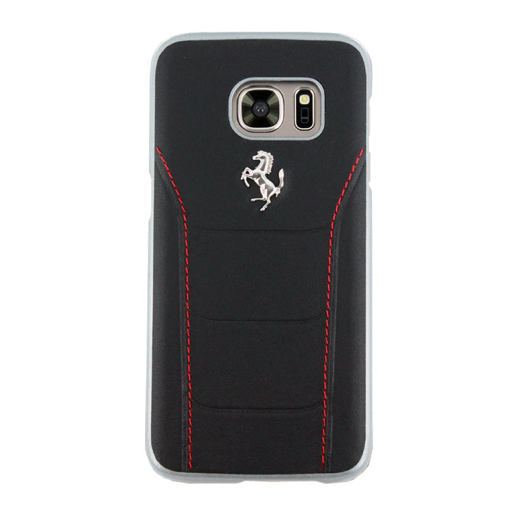 Ferrari 488 Genuine Leather Samsung Galaxy S7 Hard Case - Black