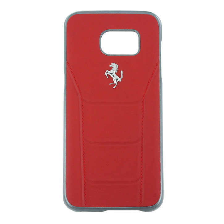 Ferrari 488 Genuine Leather Samsung Galaxy S7 Edge Hard Case - Red