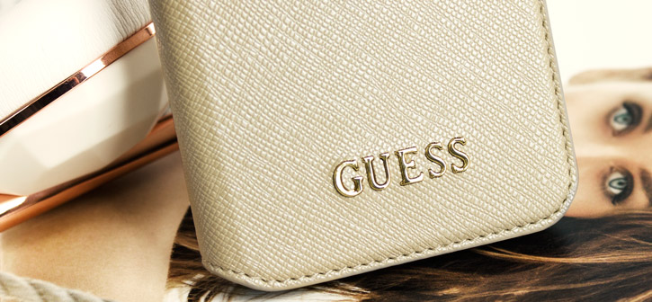 Guess Leather-Style Samsung Galaxy S7 Wallet Case - Beige Gold