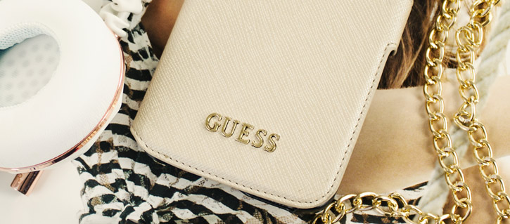 Guess Leather-Style Samsung Galaxy S7 Edge Wallet Case - Beige Gold
