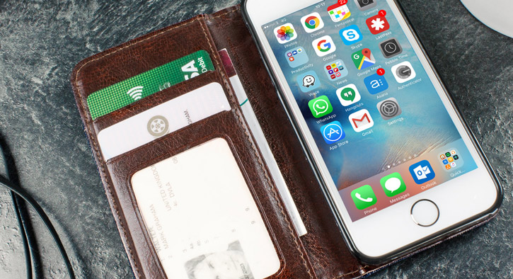 Olixar Denim Fabric iPhone SE Wallet Stand Case - Dark Blue Jeans