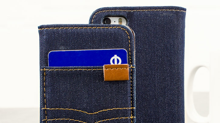 Olixar Denim Fabric iPhone SE Wallet Stand Case - Dark Blue Jeans