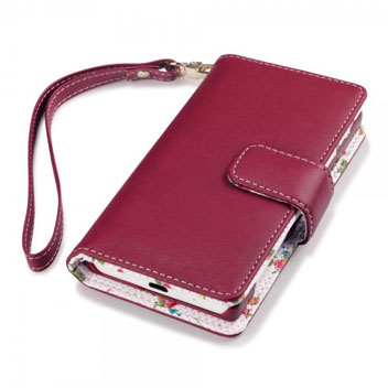 Olixar Leather-Style Sony Xperia Z5 Compact Wallet Case - Floral Red