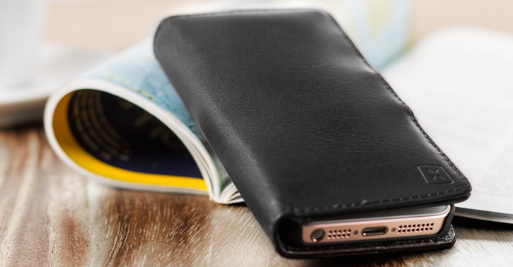 Olixar Genuine Leather iPhone 5S / 5 Wallet Case - Black