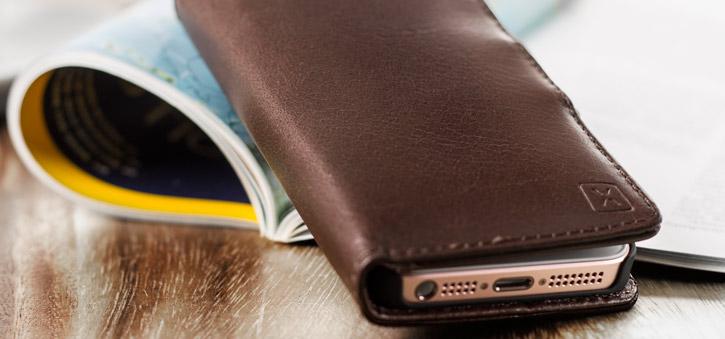 Olixar Genuine Leather iPhone SE Wallet Case - Brown