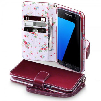 Olixar Leather-Style Samsung Galaxy S7 Edge Wallet Case - Floral Red