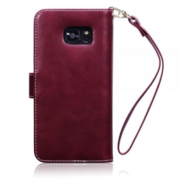 Olixar Leather-Style Samsung Galaxy S7 Wallet Case - Floral Red