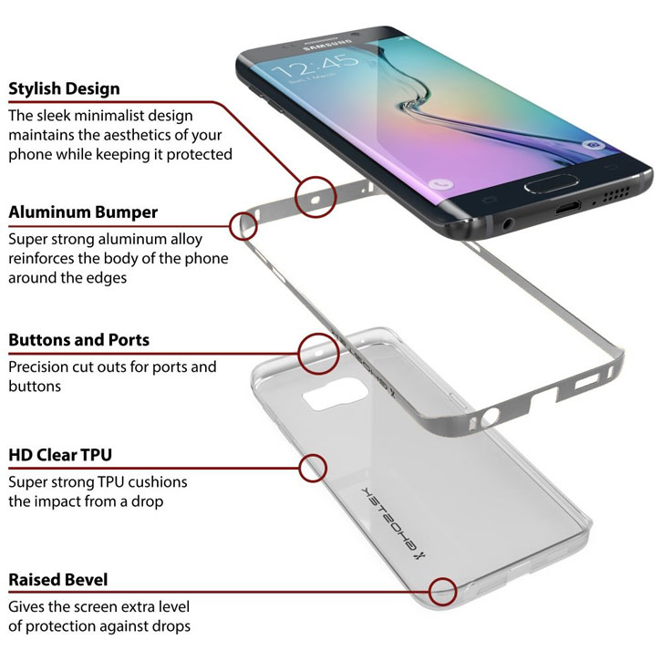 Ghostek Cloak Samsung Galaxy S6 Edge Tough Case - Clear / Silver