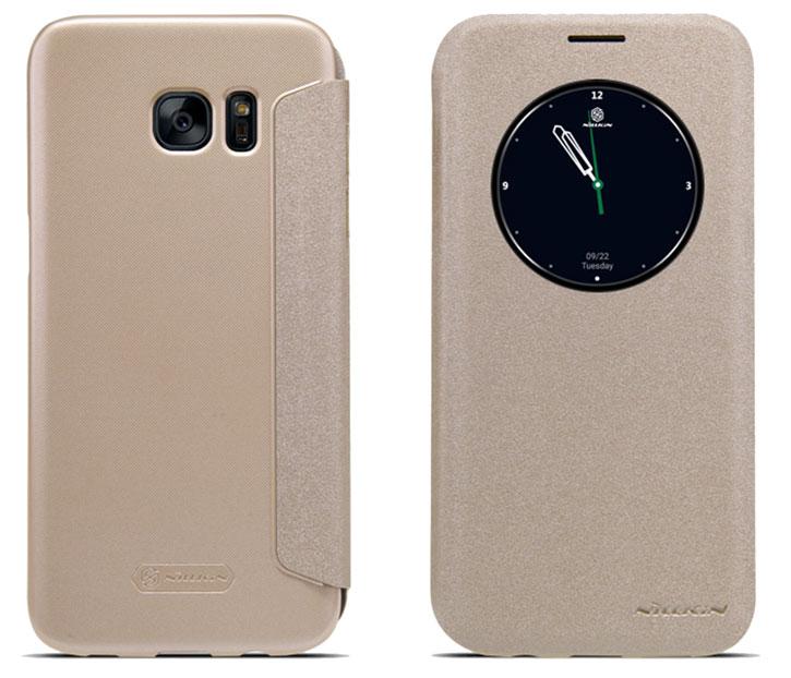 Nillkin Sparkle Big View Window Samsung Galaxy S7 Edge Case - Gold
