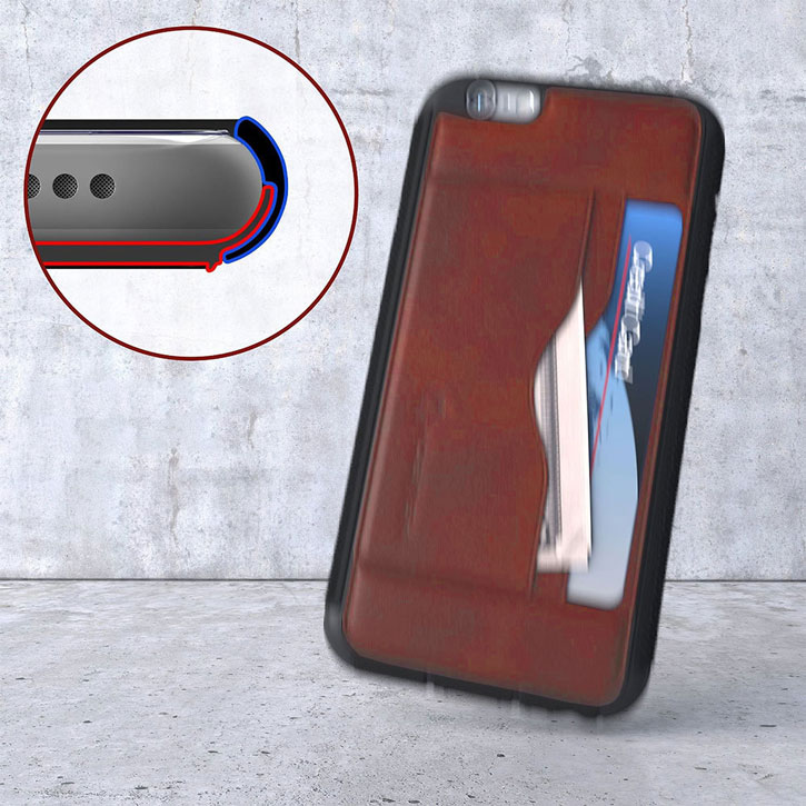 Ghostek Stash iPhone 6S / 6 Genuine Leather Wallet Case - Light Brown