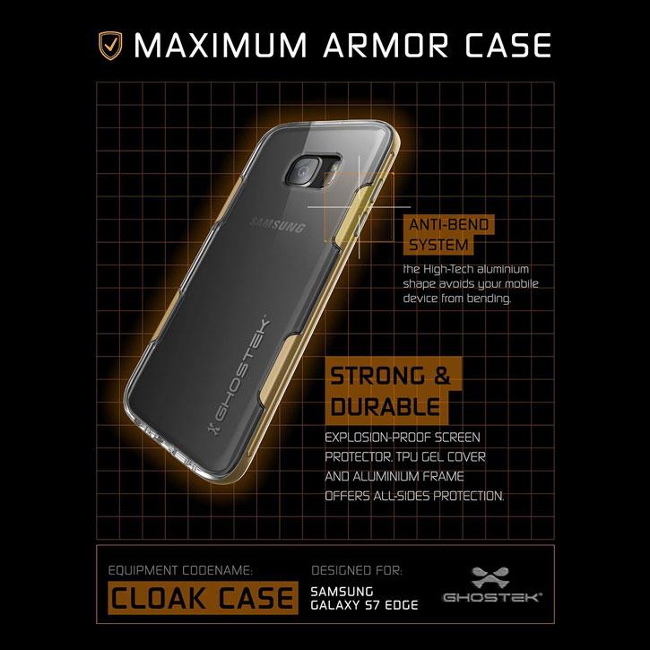 san francisco 2575b cb264 Ghostek Cloak Samsung Galaxy S7 Edge Tough Case - Clear / Gold