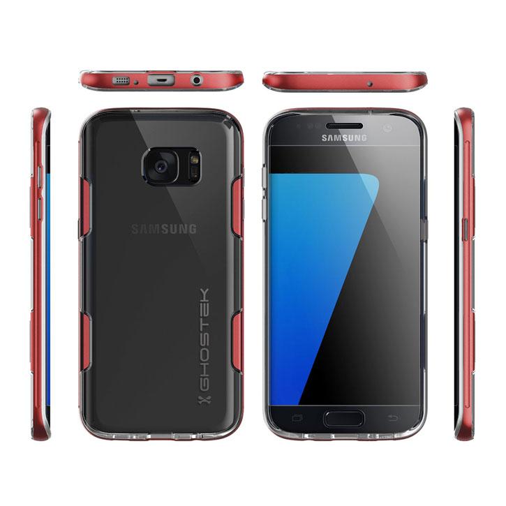 Ghostek Cloak Samsung Galaxy S7 Edge Tough Case - Clear / Red